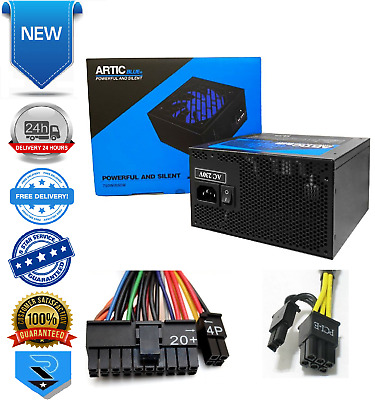 Artic 850W Blue ATX Gaming PC 6+2Pin PCIe PSU Power Supply 120mm Blue • 40.99£