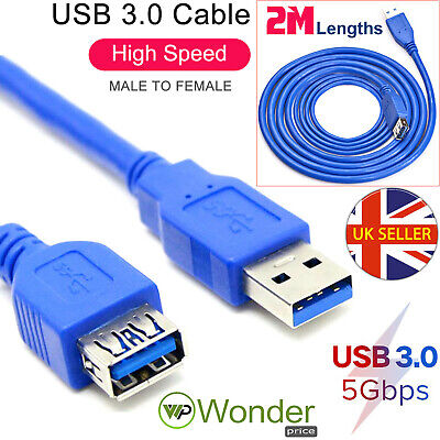 2M Metre USB3.0 Extension Extender A Male Plug To Female High Speed Fast Cable • 2.98£