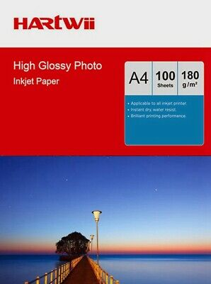 Hartwii 100 Sheets A4 180 Gsm High Glossy Photo Paper Inkjet  Printing Ink UK • 8.89£