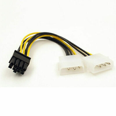 Dual Molex 4 Pin To 8 Pin PCI-E Graphics Card Adapter Power Cable UK Stock • 2.49£
