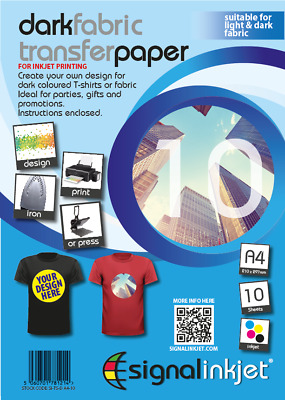 10 X A4 Iron-On T-Shirt Transfer Paper For Dark Fabrics • 8.99£