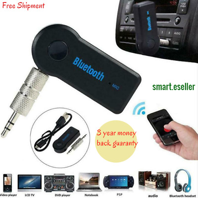Wireless Bluetooth 3.5mm Phone To AUX Car Stereo Music Receiver Adapter With Mic • 3.87£