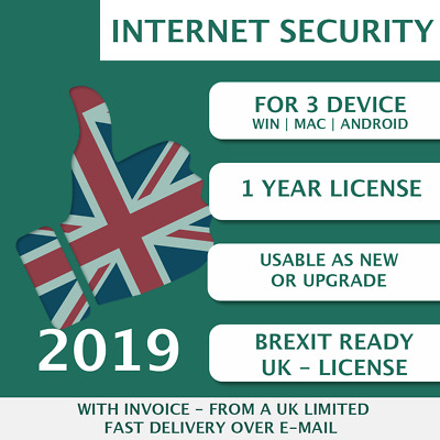 Kaspersky Internet Security 2019 [3 PC, 3 Devices, 3 User - KEY - ESD] • 13£