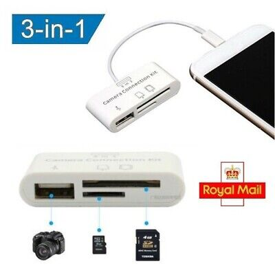3 In 1 USB Micro SD Card Camera Adapter Reader Lightning For IPhone X 8 7 IPad • 6.99£