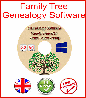 Family Tree Generator Creator Software Cd - Genealogy Maker Software For Windows • 3.95£