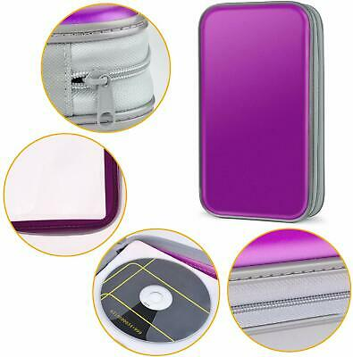 80 CD DVD Carry Case Disc Storage Holder CD Sleeve Wallet Ideal For Car PURPLE • 6.19£
