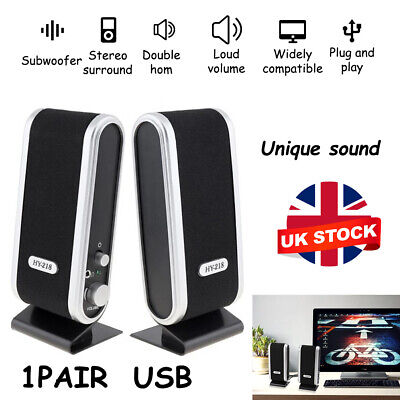 Black For PC Laptop Computer Desktop Portable USB Stereo Speakers System • 7.49£