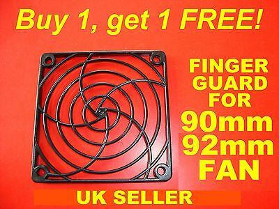 BUY 1, GET 1 FREE 90mm 92mm Fan Cover Finger Guard, Black ABS For Computer Etc. • 1.79£