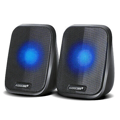Computer Speakers 2.0 Laptop PC Stereo LED 6W USB 3.5mm Jack Clear Quality Sound • 12.88£
