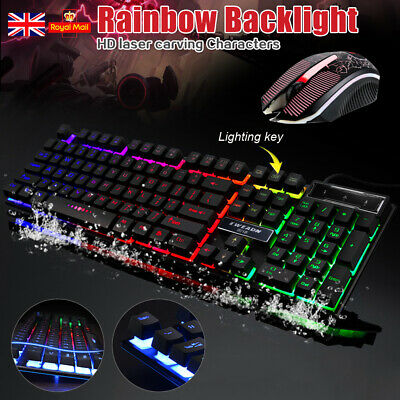 T6 Gaming Keyboard And Mouse Set Rainbow LED Wired USB For PC PS4 Xbox One + 360 • 18.59£