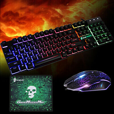 Rainbow T6 Backlight USB Wired Gaming Keyboard And Mouse Set For PC Laptop UK • 13.99£