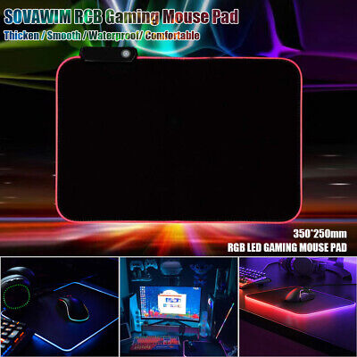 RGB Colorful LED Lighting Gaming Mouse Pad Mat 350*250mm For PC Laptop UK • 9.99£