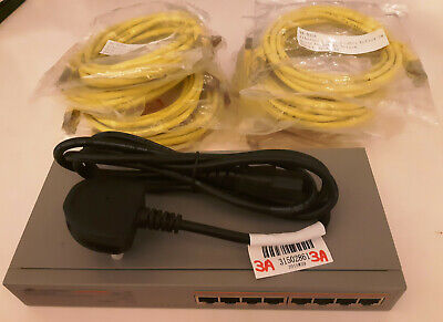 Allied Telesis AT-GS908L 10/100/1000T X 8 Ports Unmanaged Gigabit Switch+Leads • 16.99£