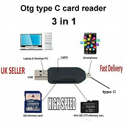 Type C Usb 3.1 Memory Card Reader For Micro Sd Sdhc Sdxc A50 A60 A70 A80 A90 5g • 2.99£