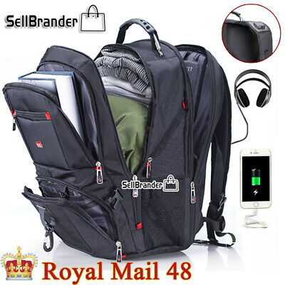 Swiss Multifunctional 17'' Laptop Backpack Travel USB Charge Camping School Bag • 27.99£