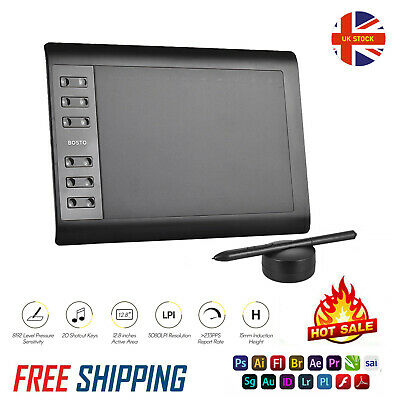 Bosto 1060 Plus Graphics Tablet 10x6 Inch Drawing Board Pad With Stylus Pen V0D0 • 27.99£
