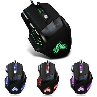 Led Optical Usb Wired Gaming Mouse 7 Buttons Gamer Laptop Computer Mice • 5.99£