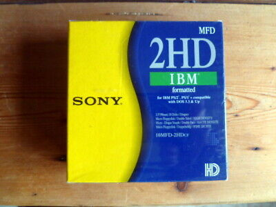 New Box Of 10 SONY 2HD Floppy Disks, IBM Formatted 1.44MB, • 9.95£