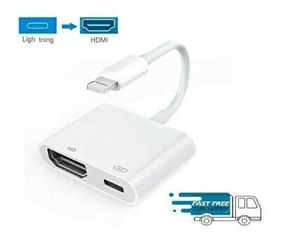 Lightning To HDMI Cable/adapter AV To TV 1080P For Iphone 5/6/7/8/X/11 XR 11pro • 13.99£
