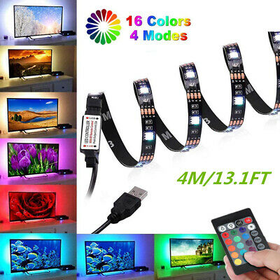 4M/13.1FT USB LED STRIP LIGHTS RGB 5050 COLOUR CHANGING +Remote For PC TV • 7.95£