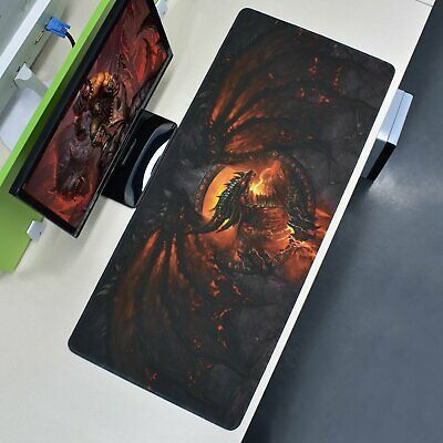 Extra Large XXL Gaming Mouse Pad Fire Dragon Desk Mat Computer Keyboard 90x40cm • 8.81£