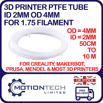 PTFE Tube ID 2mm OD 4mm - 1.75 Filament For 3D Printer Lot 0.5m To 5 Metres • 3.95£