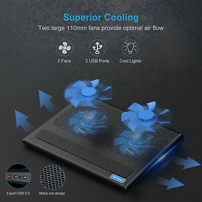 TECKNET Laptop Cooling Pad 2USB Powered Fans Ultra-Slim Quiet Cooler Fit 12 -16  • 14.69£