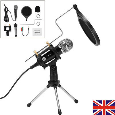 Studio Condenser Microphone Recording Broadcasting Podcast MIC W/ Stand For PC • 13.99£