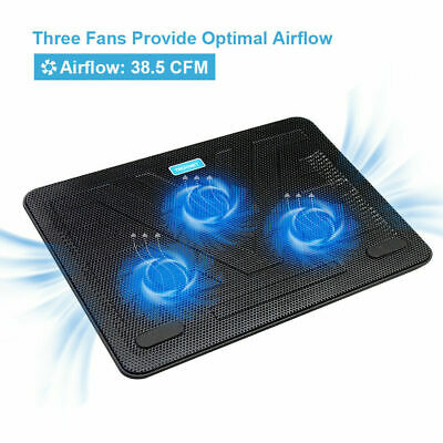 TECKNET 12 -17  Quiet Laptop Cooler Cooling Pad Stand With 3 USB Powered Fans • 18.99£