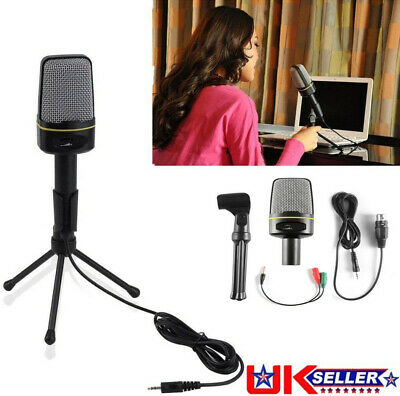 PC/Phone Microphone 3.5mm Condenser Microphone Recording With Stand Plug & Play • 11.98£