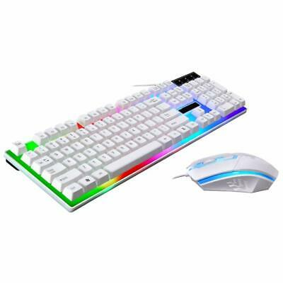 Gaming Keyboard And Mouse Set Rainbow LED Backlit Wired USB For PC Laptop White • 14.99£