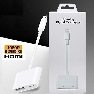 Lightning To HDMI Cable/adapter AV To TV 1080P For Iphone 5/6/7/8/X/11 XR 11pro • 11.99£
