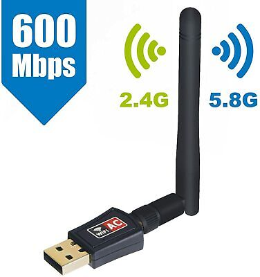 USB Wifi Dongle High Speed Internet 5GHz 600Mbps Wireless Adapter Dual Antenna • 9.99£