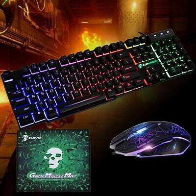 Rainbow T6 Backlight USB Wired Gaming Keyboard And Mouse Set For PC Laptop UK • 11.99£