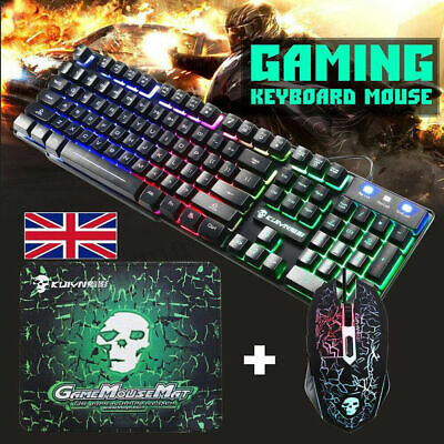 T6 Rainbow Backlight Usb Ergonomic Gaming Keyboard And Mouse Set For PC Laptop • 12.99£