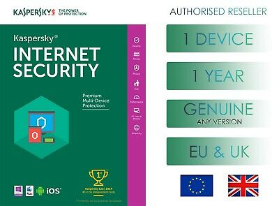Kaspersky Internet Security 1 Pc 1 Year Global Genuine License - Email Delivery • 4.49£