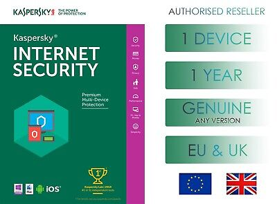 Kaspersky Internet Security 1 Pc Or Device 1 Year Eu & Uk Genuine License Email • 4.99£
