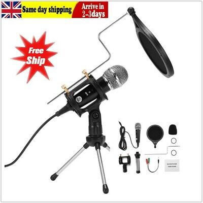 PC Studio Condenser Microphone Recording Broadcasting Podcast MIC With Stand • 9.99£