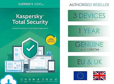 Kaspersky Total Security 3 Device 1 Year Global Genuine License - Email Delivery • 10.99£