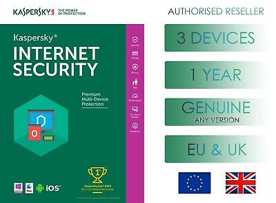 Kaspersky Internet Security 3 Pc 1 Year Global Genuine License - Email Delivery • 9.99£