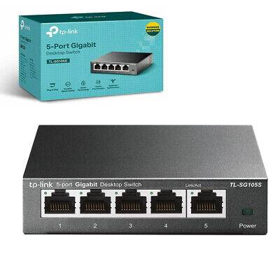 TP-Link TL-SG105S 5-Port Desktop Gigabit Ethernet Switch/Hub, Ethernet Splitter, • 17.99£
