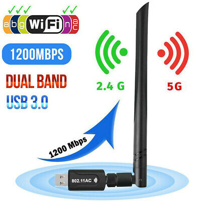1200Mbps USB 3.0 Wireless WiFi Network Receiver Adapter 5GHz Dual Band Dongle UK • 9.99£