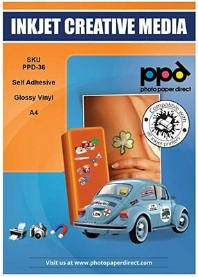 PPD A4 Gloss Printable Vinyl Self Adhesive Sticker Paper X 5 Sheets • 7.99£