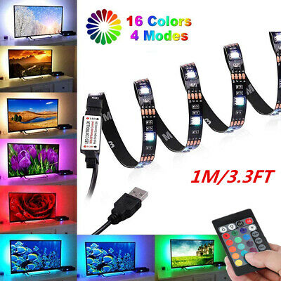 1M 5050 LED STRIP LIGHTS RGB COLOUR CHANGING CABINET PC TV Backlight + Remote • 3.96£