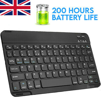 Wireless Bluetooth Keyboard 200hr Battery Mac PC IPad Android Tablet IPhone • 8.99£