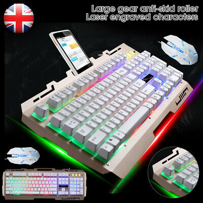 Pro Gaming Keyboard And Mouse Set Rainbow LED Wired USB For PC Laptop PS4 Xbox • 18.59£
