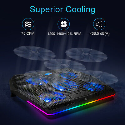 TECKNET Laptop Cooling Cooler Pad RGB Quiet With 5 Powerful Fans For 12 -19  PC • 19.80£