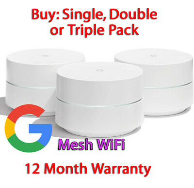 Google Mesh Wi-Fi Whole Home System Network Router 1 2 Or 3 Pack UK Plug • 74.55£