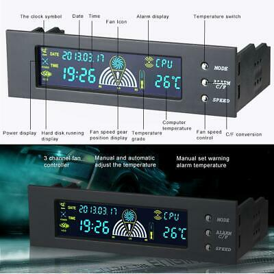 5.25in Bay Front LCD Display Panel 3 Fan Speed Controller CPU Temperature Sensor • 11.99£