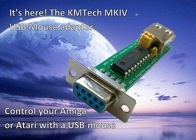 KMTech MKIV Amiga/Atari USB Mouse Adapter Converter With Mode Switch Jumpers • 13.95£